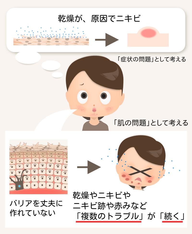 乾燥もニキビもトラブルを起こしやすい肌の症状の一つ